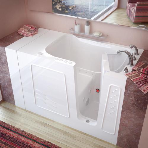 "Meditub 53"" W x 30"" D White Dual Massage Walk-In Bathtub - Right Hand Drain"
