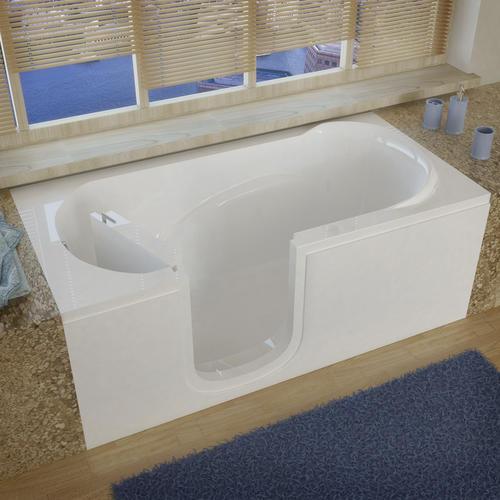 """meditub 60"""" w x 30"""" d white soaking walk-in bathtub - left hand"""