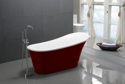 "ANZZI Prima 67"" x 31"" Red Freestanding Bathtub"