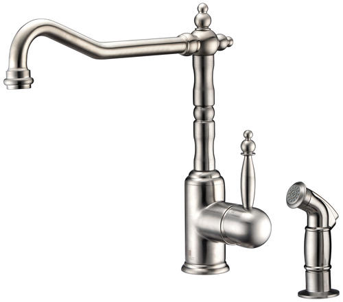 ANZZI Locke One-Handle Brushed Nickel Kitchen Faucet with ...