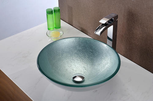 ANZZI Spirito Series Deco Glass Vessel Sink In Churning ...