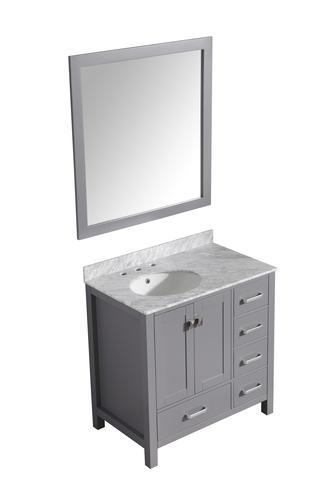 "ANZZI 36"" W x 22"" D Chateau Gray Vanity and Carrara White ..."