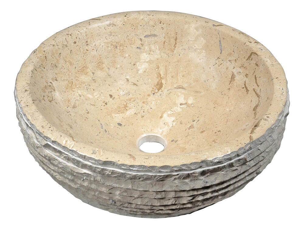 Anzzi Desert Basin 16 1 2 W Cream Marble Round Vessel Sink At Menards