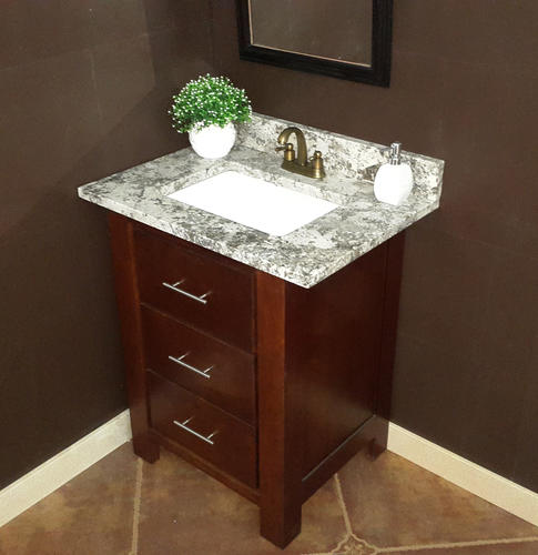 Tuscany 31 W X 22 D Granite Vanity Top With Rectangular Bowl At