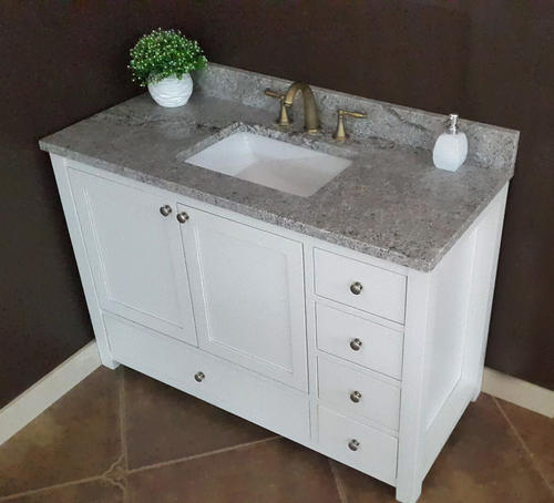 Tuscany 49 W X 22 D Gray Forest Granite Vanity Top With Rectangular Undermount Bowl At Menards