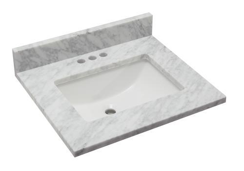 Tuscany 25 X 22 Carrara Marble Vanity Top With Wave Rectangular Undermount Bowl At Menards