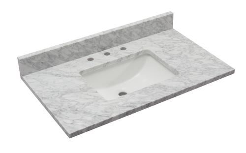 Tuscany 37 X 22 Carrara Marble Vanity Top With Wave Bowl At Menards