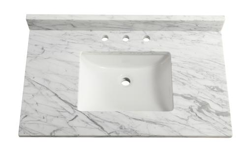 Outstanding Tuscany 37 X 22 Carrara Marble Vanity Top With Wave Bowl Interior Design Ideas Tzicisoteloinfo
