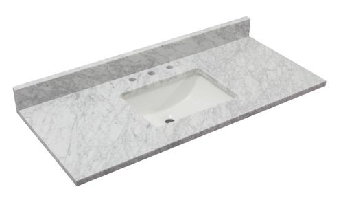 Tuscany 49 X 22 Carrara Marble Vanity Top With Wave Rectangular Undermount Bowl At Menards