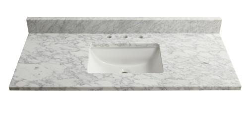 Tuscany 49 X 22 Carrara Marble Vanity Top With Wave Bowl