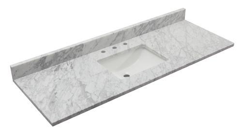 Tuscany 61 X 22 Carrara Marble Vanity Top With Wave Rectangular Undermount Bowl At Menards