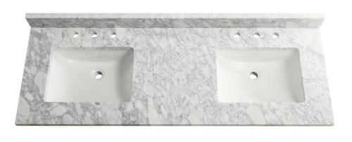 Tuscany 61 X 22 Carrara Marble Vanity Top With Double Wave