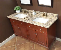 Tuscany 174 61 Quot W X 22 Quot D Granite Vanity Top With Double Rectangular Bowls At Menards 174