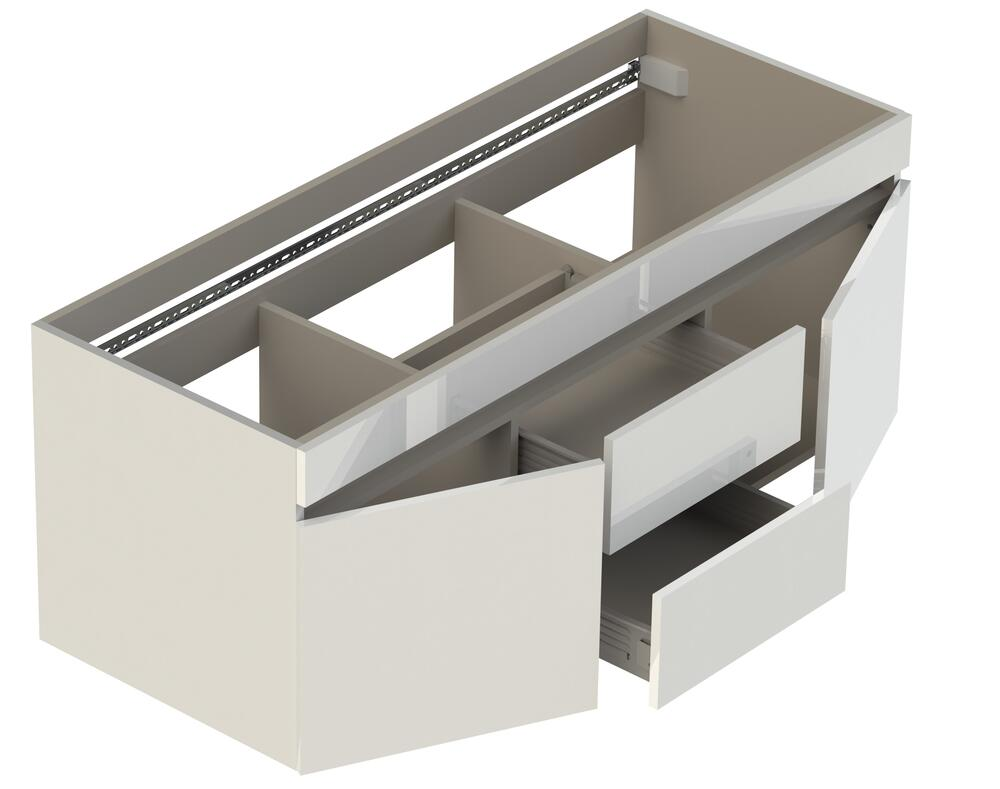 Lift Bridge Viteli 48 W X 19 D White Vanity And White Cultured Marble Genova Vanity Top With Rectangular Integrated Bowls At Menards