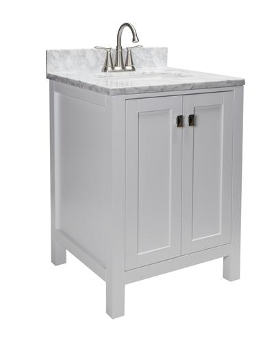 Tuscany Rio 24 W X 22 D Vanity And Natural Cararra Marble Vanity Top With Rectangular Undermount Bowl At Menards