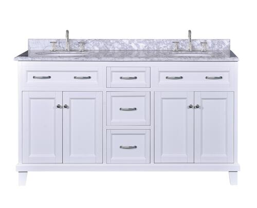 Tuscany Addison 60 W X 22 D Vanity With Carrara Marble Vanity Top With Oval Undermount Bowls At Menards