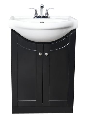 Dreamworks Euro 24 W X 19 3 8 D Black Vanity And White Porcelain Vanity Top With Oval Integrated Bowl At Menards
