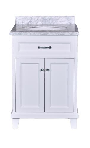 Dreamwerks 24 Quot W X 22 Quot D White Addison Vanity With Carrara