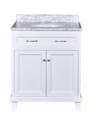 Tremendous Dreamwerks 30W X 22D White Addison Vanity With Carrara Download Free Architecture Designs Jebrpmadebymaigaardcom