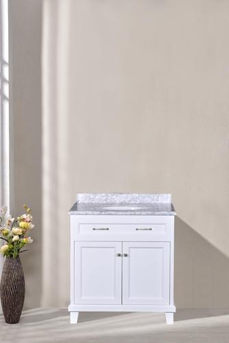 W Side Drawer Bath Vanity In White