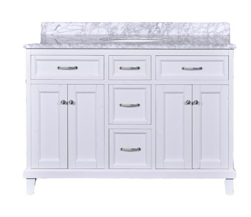 Dreamwerks 48 W X 22 D White Addison Vanity With Carrara Marble
