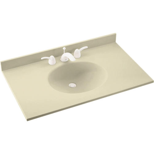 Swan Ellipse 37 W X 19 D Solid Surface Vanity Top With Oval Integrated Bowl At Menards