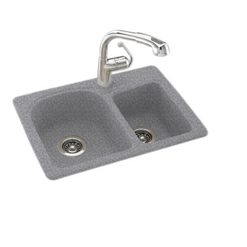 Swan Dual Mount 25 Quot Solid Surface Double Bowl Kitchen Sink