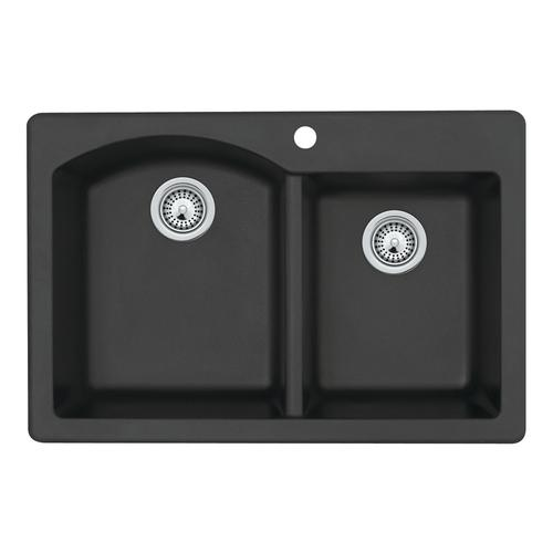 Swan Dual Mount 33 Quot Granite Composite Double Bowl Kitchen
