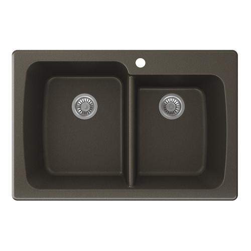 Swan Dual Mount 33 Quot Granite Composite Double Bowl Kitchen