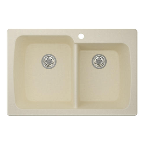 swan granite 33 x 22 x 9 offset double bowl kitchen sink at menards - Kitchen Sinks At Menards