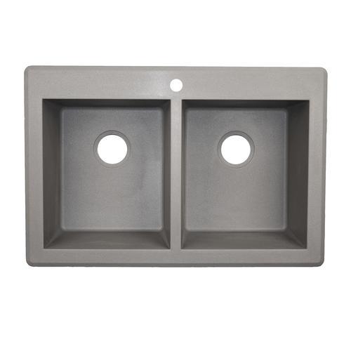 "Swan Dual Mount 33"" Granite Composite Square Double Bowl"