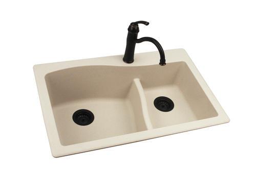 "Swan Dual Mount 33"" Granite Composite Double Bowl Kitchen"