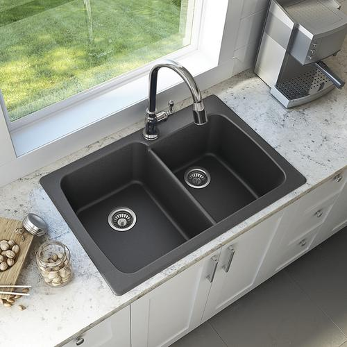 Swan dual mount 33 granite composite double bowl kitchen sink at swan dual mount 33 granite composite double bowl kitchen sink at menards workwithnaturefo