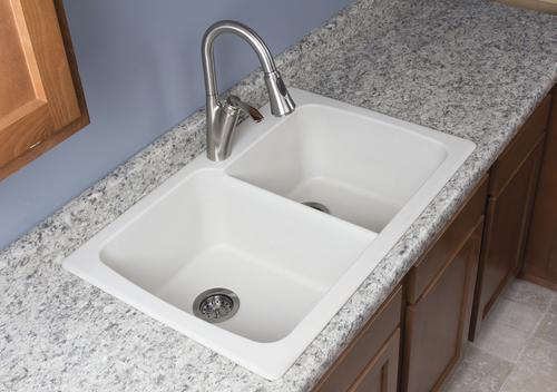 Swan Dual Mount 33 Granite Composite Double Bowl Kitchen