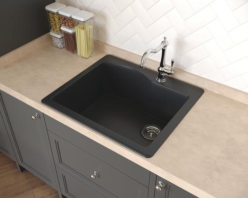 Swan Dual Mount 25 Granite Composite 1 Hole Single Bowl Kitchen Sink At Menards