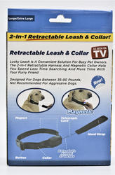 LUCKY LEASH Large//Xtra Large Retractable 2 in 1 Magnetic DOG Leash Collar NEW