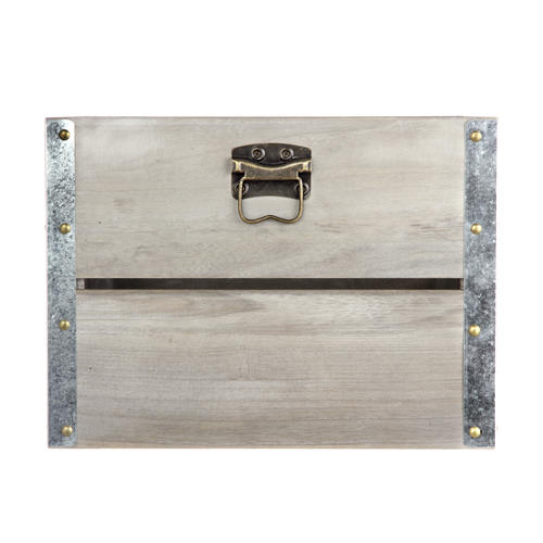 Home Zone Gray Wood Crate With Galvanized Corners At Menards