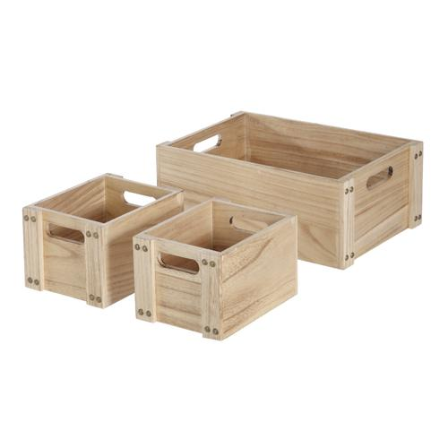 Home Zone Paulownia Wood Crate 3 Pack At Menards