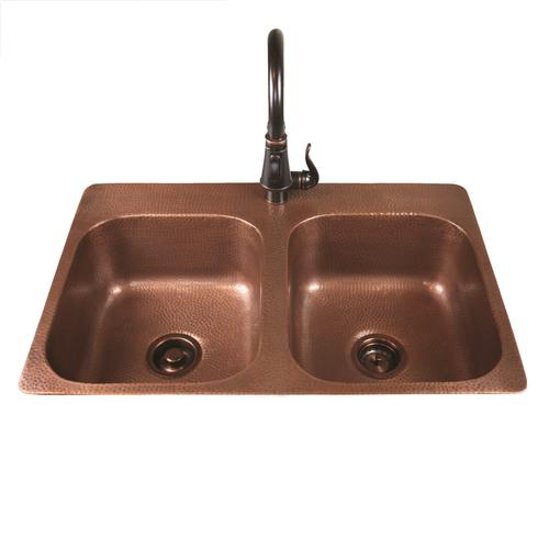 "Sinkology Riley Top Mount 33"" Copper 1-Hole Double Bowl"