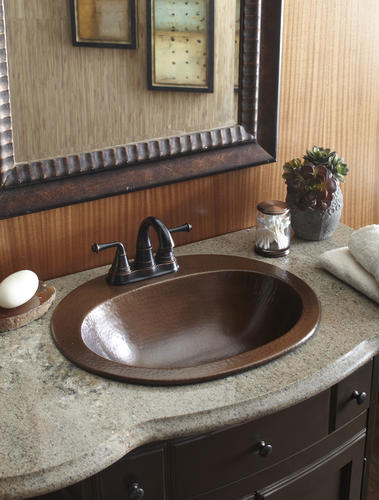 Sinkology Aged Pure Solid Copper Sink Oval Drop In With 4 Faucet Holes