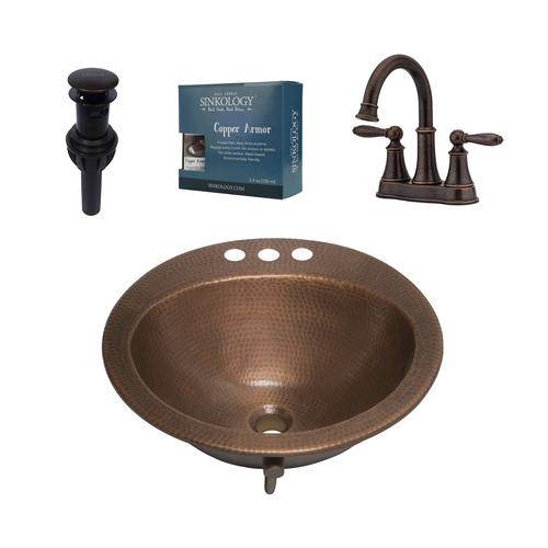 9ca272f90e8 Sinkology Bell All-In-One Drop-In Copper Sink Design Kit with Pfister