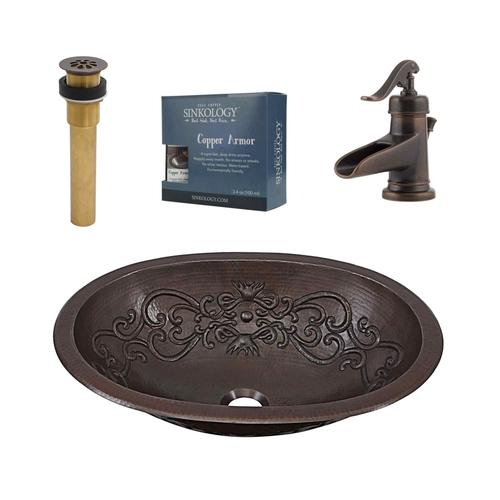 Sinkology Pauling 19 W X 14 D Rustic Bronze Oval Dual Mount Bathroom Sink With Drain Faucet At Menards