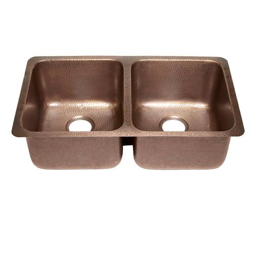 "Sinkology Rivera Undermount 32-1/4"" Copper Double Bowl Kitchen Sink"