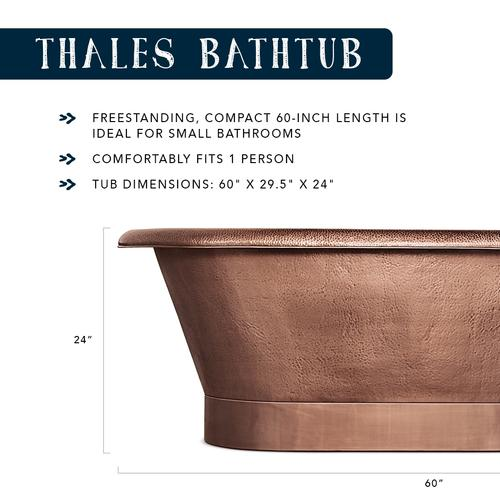 Thales 60 In Copper Freestanding Bathtub With Overflow 2 Hole