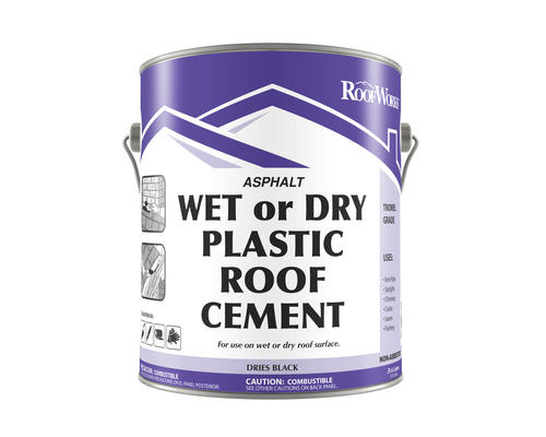 RoofWorks Wet or Dry Plastic Roof Cement -  9-gal  at Menards®