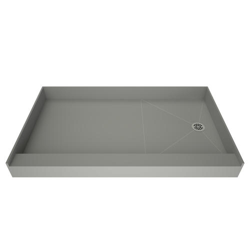 """Tile Redi Base'N Bench 60""""W x 30""""D Single Curb Shower Pan with Right Drain"""