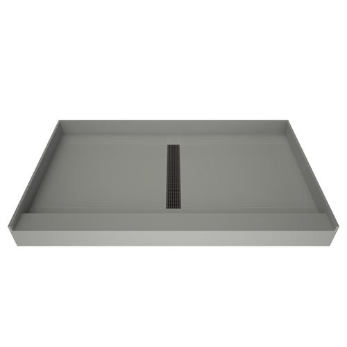 """Redi Trench 60""""W x 36""""D Shower Pan with Center Trench Drain"""