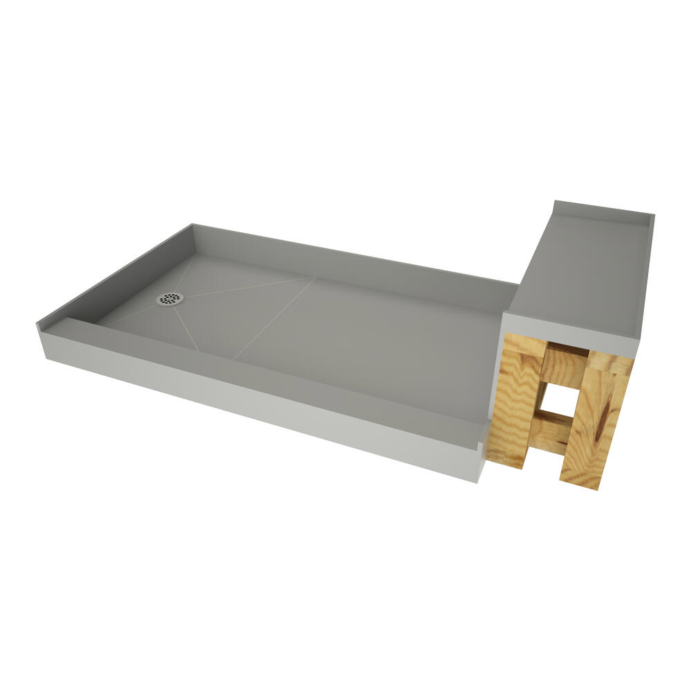 Base N Bench Single Curb Shower Pan With Left Drain At Menards