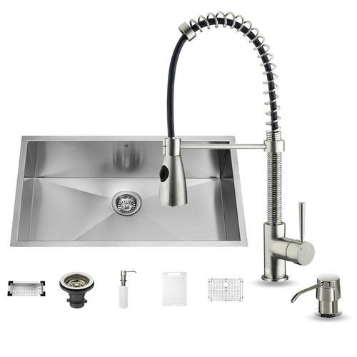 VIGO Stainless Steel Undermount Kitchen Sink Faucet, Dispenser and on farmhouse kitchen sink faucet, single kitchen sink faucet, wall mount kitchen sink faucet,