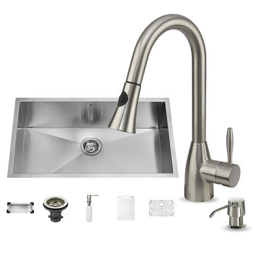 VIGO Stainless Steel Undermount Kitchen Sink, Faucet & Accessories on single kitchen sink faucet, farmhouse kitchen sink faucet, wall mount kitchen sink faucet,